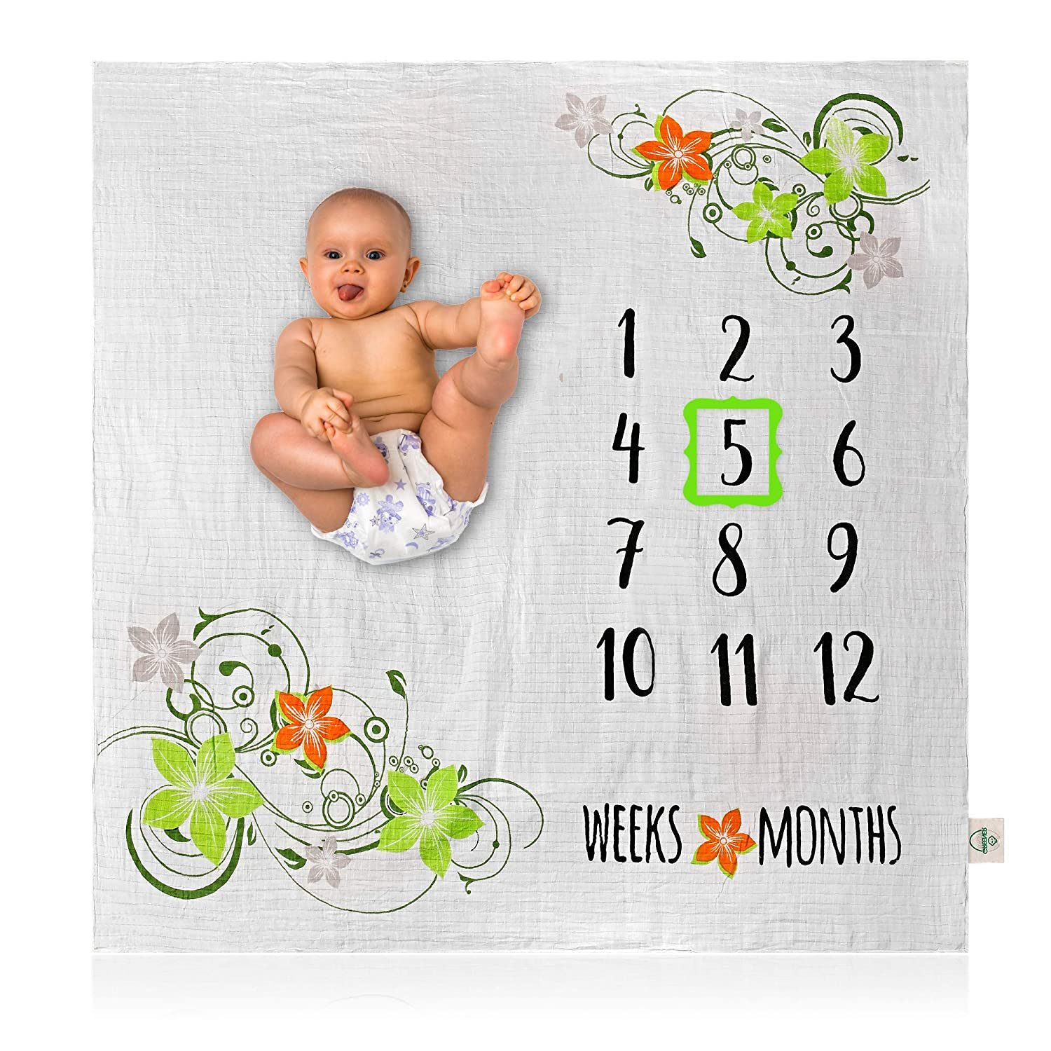 Bamboo Cotton Muslin Swaddle Month Blankets Organic Bamboo Baby Milestone Blanket Personalized Shower Gifts Photo Prop for Yearly Girl or Boy Large 47 X 47 Large 47 X 47 Greener Baby Monthly or Weekly Pictures