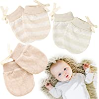 Kalevel 3 Pairs Newborn Baby Mittens No Scratch Cotton Gloves 0-2 Years Mixed Colors (S, M)