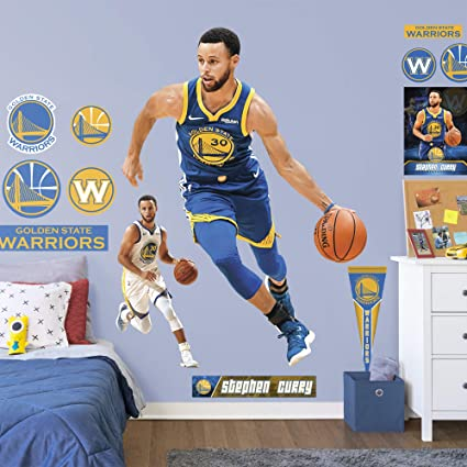 9e56683659425 FATHEAD NBA Golden State Warriors Steph Curry Steph Curry- Officially  Licensed Removable Wall Decal, Multicolor, Life-Size