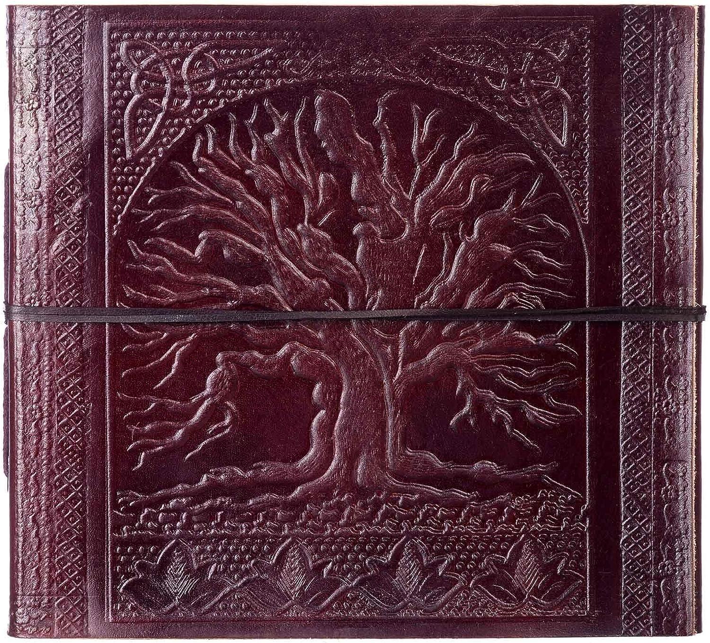 Álbum de fotos de piel en relieve grande Árbol de la vida | para adaptarse a fotos de 120 6 x 4 o 60 7 x 5 | 24 x 26 cm | Comercio justo y hecho a mano