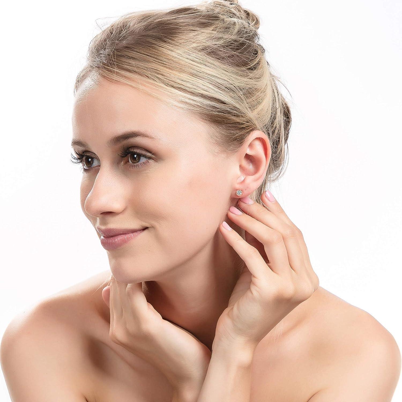 18K Gold Plated Stud Earrings for Women Men Ear Piercing Earrings Cubic Zirconia Inlaid,4-7mm Available Brilliant Cut CZ Stud Earrings