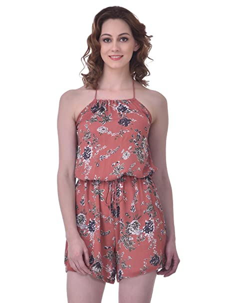 32fe2213b4 Martini Women Floral Thigh Length Halter Neck Jumpsuit (Peach