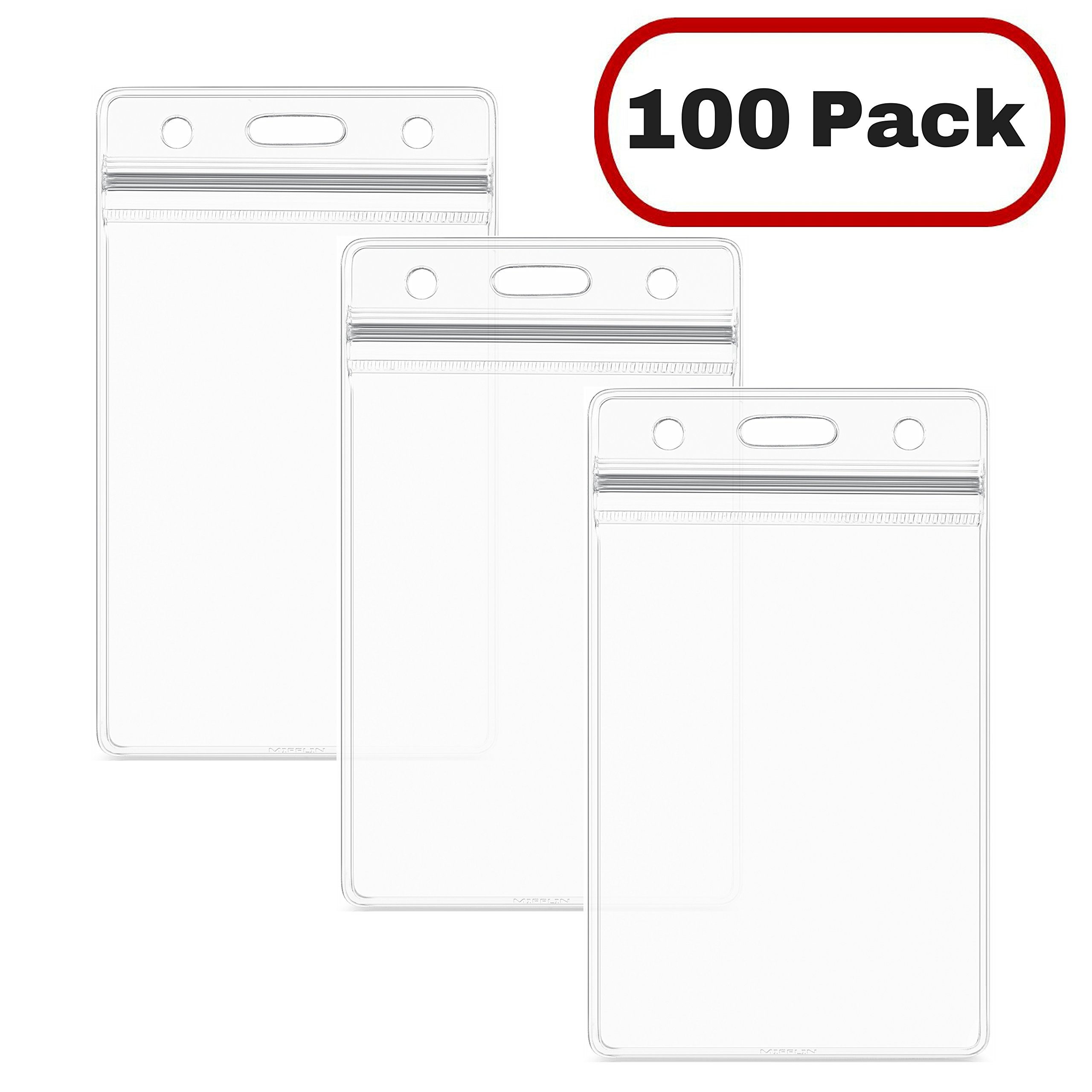 MIFFLIN ID Card Holder, Clear Plastic Badge Holder, Resealable, Waterproof, Vertical Style, 100 Pack