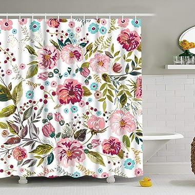 Modern timesm Bathroom Shower Curtain Colorful Flower Shower Curtains Durable Fabric Bath Curtain Waterproof Odorless Bathroom Curtain 12 Hooks