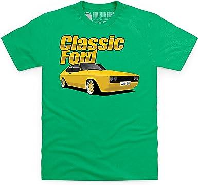 Shotdeadinthehead Classic Ford Capri Camiseta, para Hombre, Verde Celta, S: Amazon.es: Ropa y accesorios
