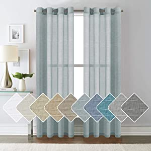 "H.VERSAILTEX Luxurious Natural Linen Curtains - Functional Light Filtering Linen Sheer Curtains, Nickel Grommet Top Window Treatments Semi-Sheers - Teal - 52"" W x 84"" L - (Set of 2 Panels)"