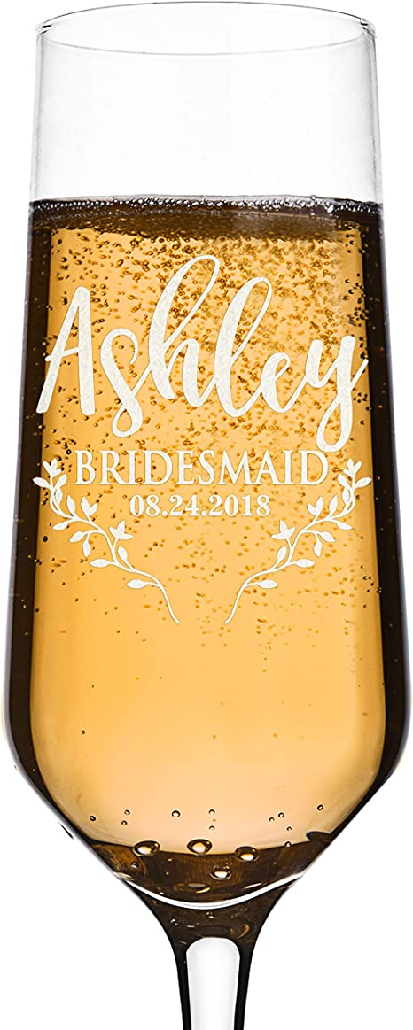 stemless wine glass bachelorette party gold personalized champagne flute **PLASTIC** Bridesmaid gift custom proposal champagne flute