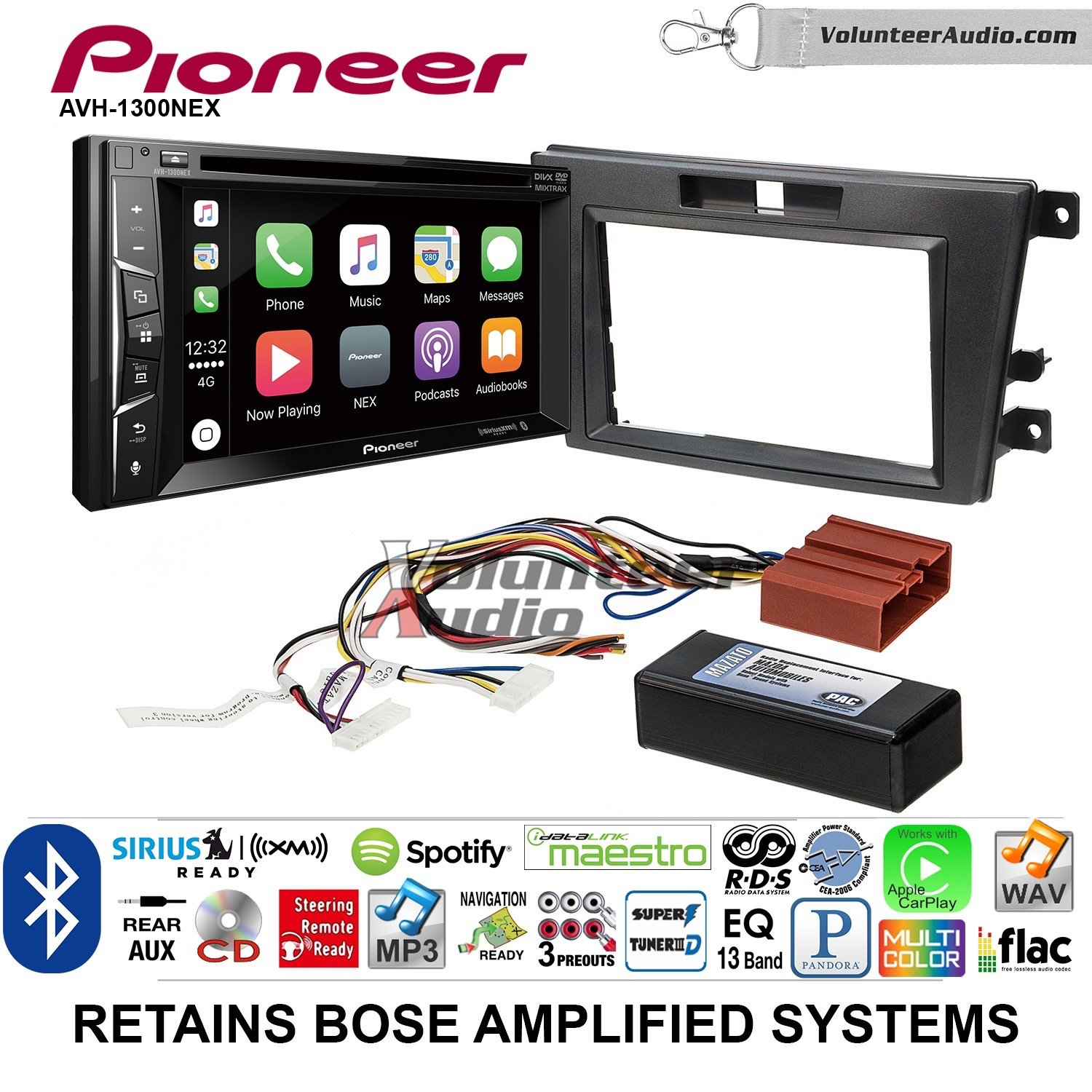 Volunteer Audio Pioneer AVH-1300NEX Double Din Radio Install Kit with Apple Carplay Bluetooth USB/AUX Fits 2007-2009 Mazda CX-7 (With Bose)