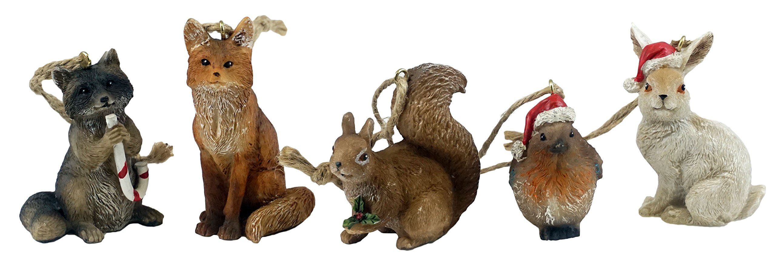 Woodland Animal Hanging Christmas Ornaments - Set of 5 by Creative Co-op