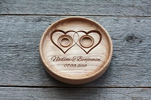 Anillo de bodas con nombres grabados y fecha, Caja para alianzas ...