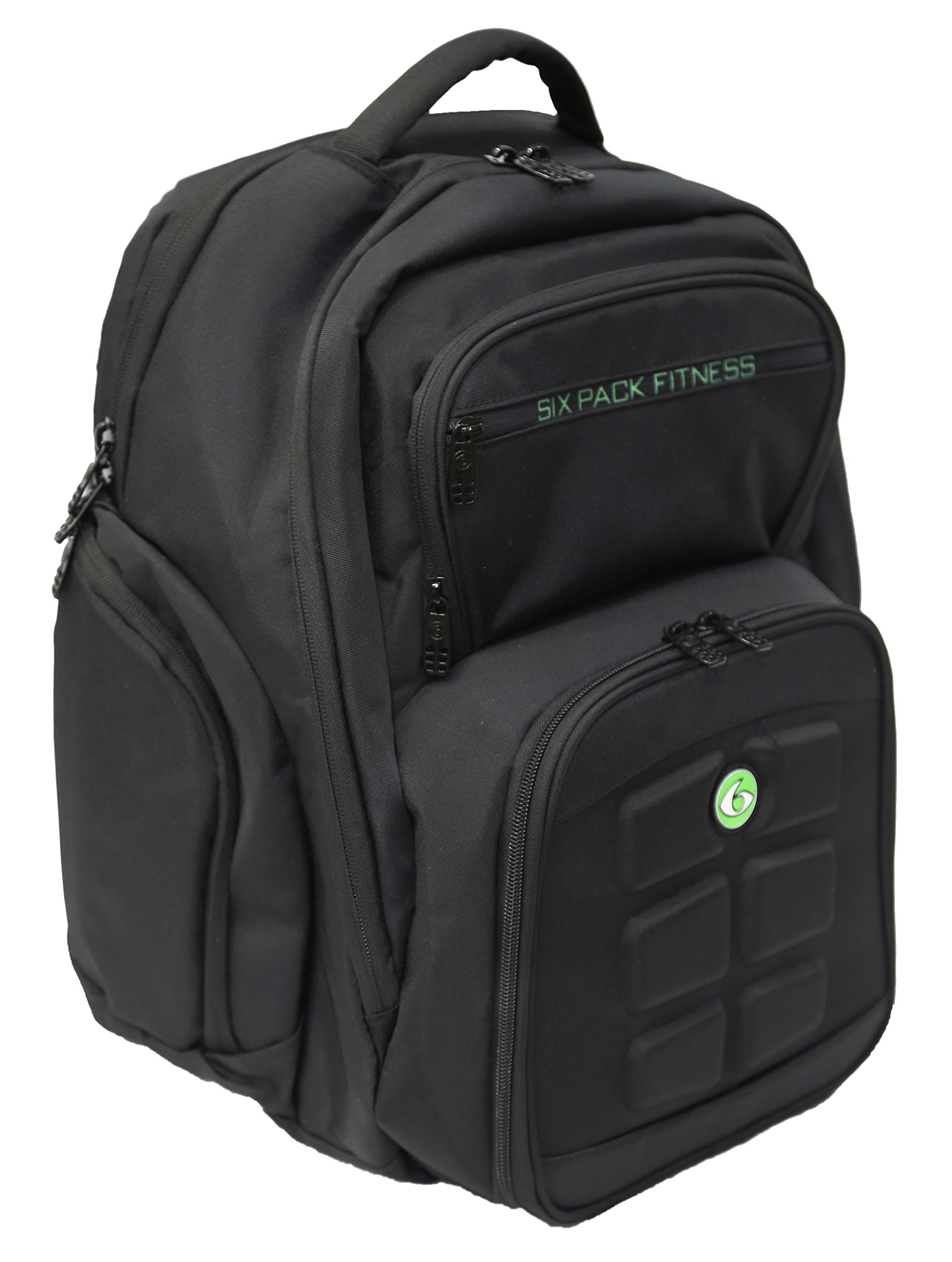 6 Pack Fitness Expedition Backpack W/ Removable Meal Management System 300 Black/Neon Green