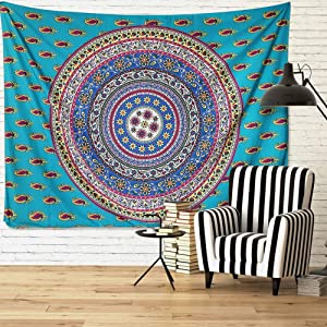 eZAKKA Mandala Tapestry Wall Hanging, Hippie Psychedelic Bohemian Indian Wall Blanket for Bedroom Dorm Living Room Decor, 59x78 inches