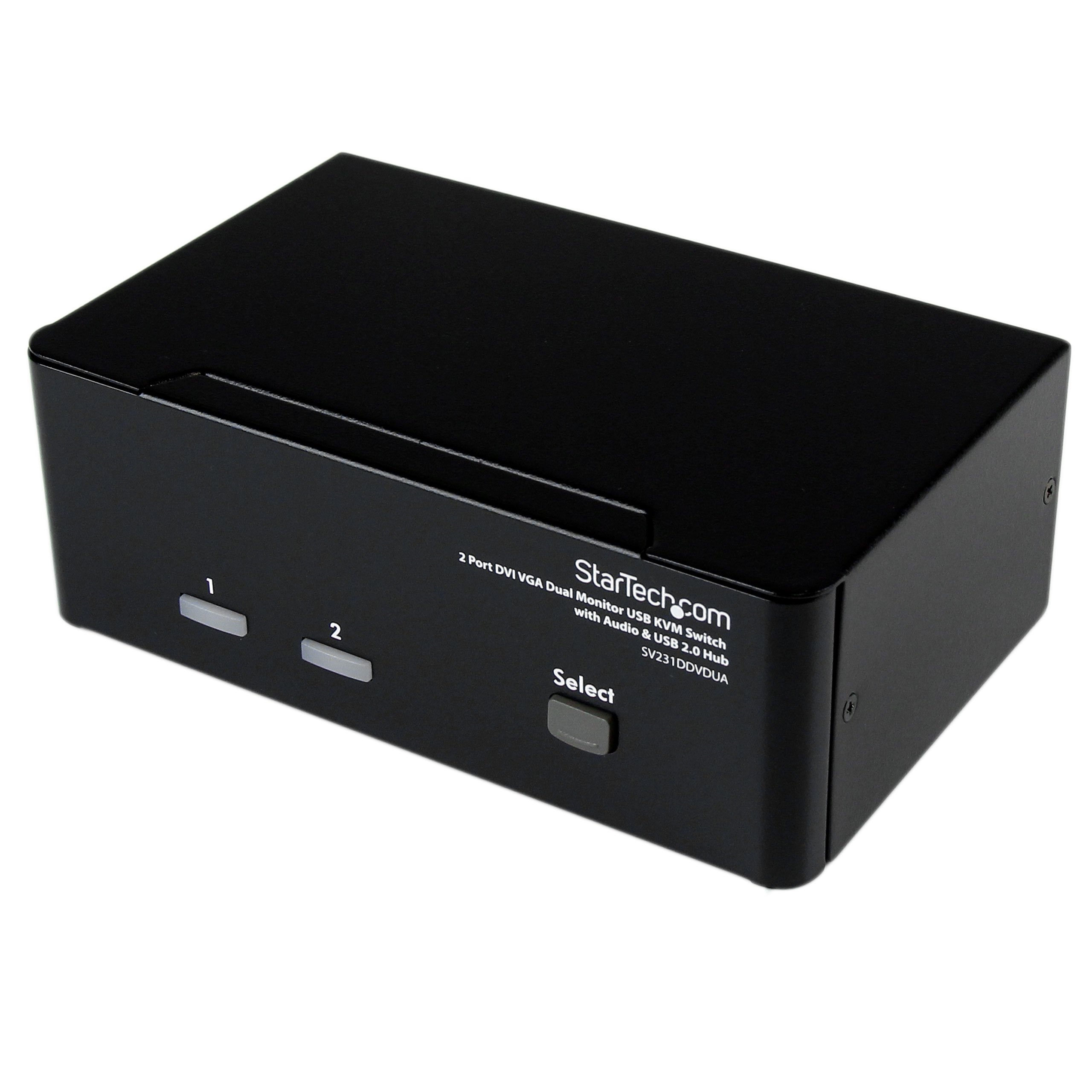 StarTech.com 2 Port DVI VGA Dual Monitor KVM Switch USB with Audio & USB 2.0 Hub - Dual Monitor KVM Switch DVI and VGA