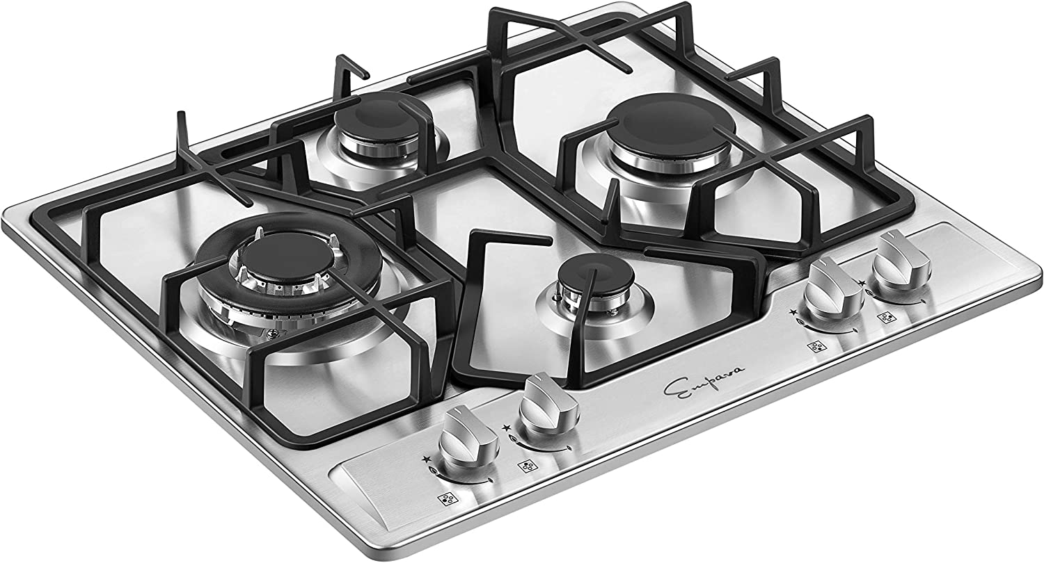 Silver Empava 24XGC4B67A 24 Inch Stainless Steel Gas Professional 4 Italy Sabaf Burners Stove Top Certified with Thermocouple Protection Cooktops