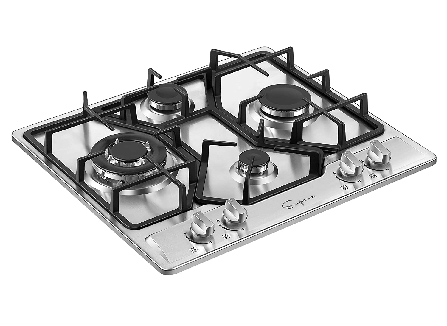 Empava 36XGC881 36 Inch Stainless Steel Gas Professional 5 Italy Sabaf Burners Stove Top Certified with Thermocouple Protection Cooktops Silver