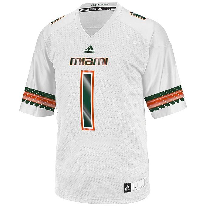 best sneakers 85c3b dee03 NCAA Miami Hurricanes Men's 3-Stripe Football Jersey, Large, White