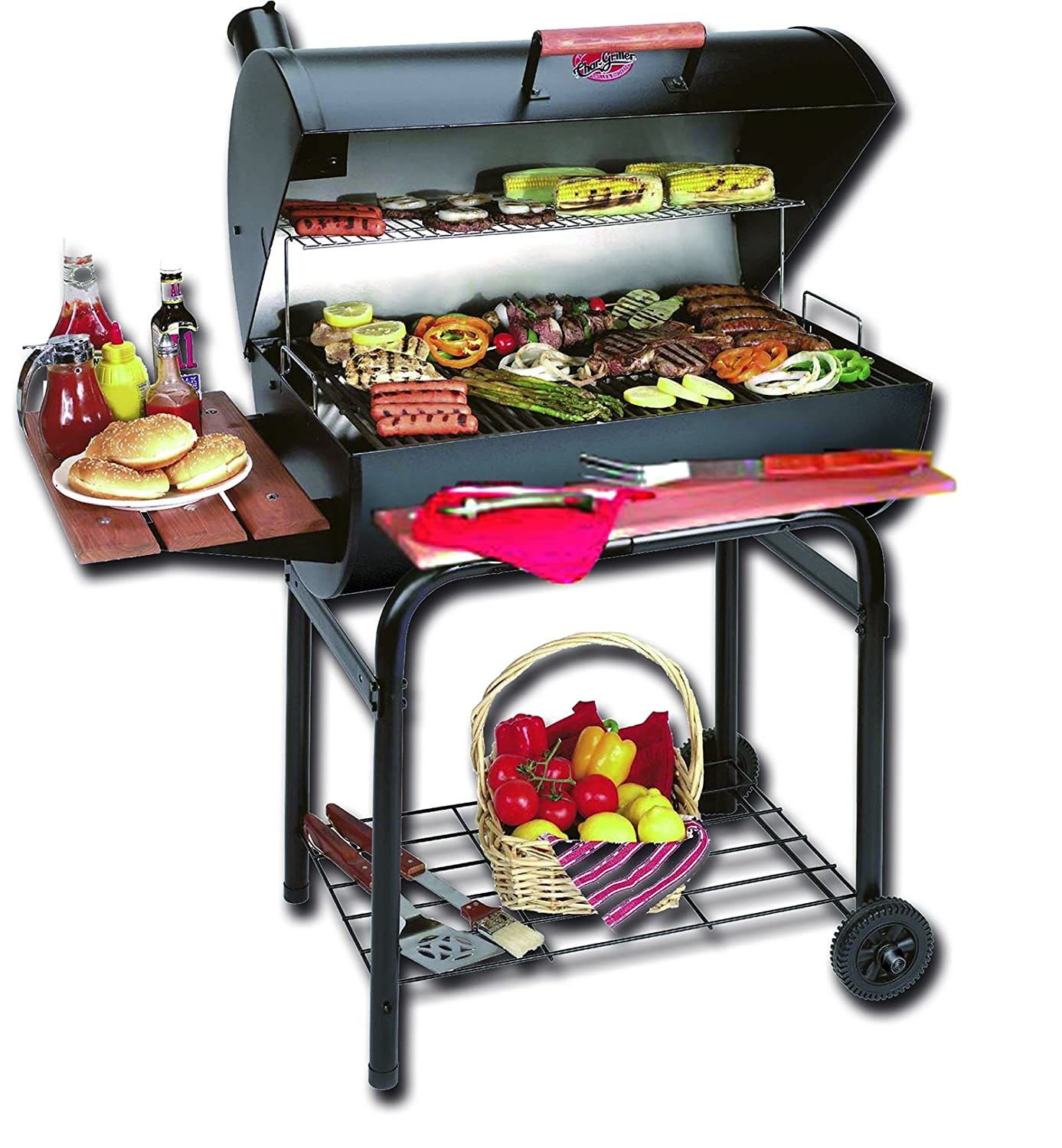 amazon com char griller 2121 super pro charcoal grill and smoker