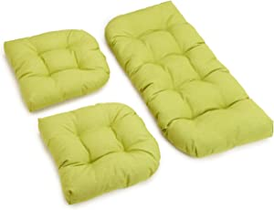 Blazing Needles Outdoor Spun Poly All Weather UV Resistant Settee Group Cushions, Lime, Set of 3