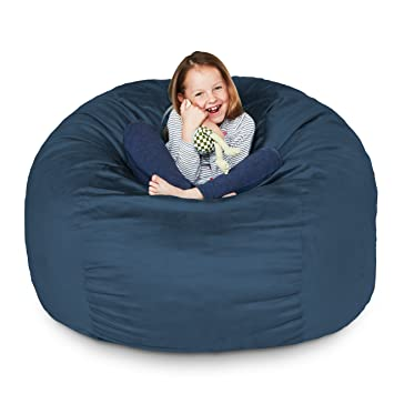 Lumaland Luxury 3 Foot Bean Bag Chair With Microsuede Cover Navy Blue Machine Washable