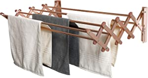 AERO W Space Saver Racks Aluminum Wall Mounted Collapsible Laundry Folding Clothes Drying Rack Heavy Weight Capacity Linear Ft Clothesline (60lb Capacity, 22.5 Linear FT, Aluminum Rose)