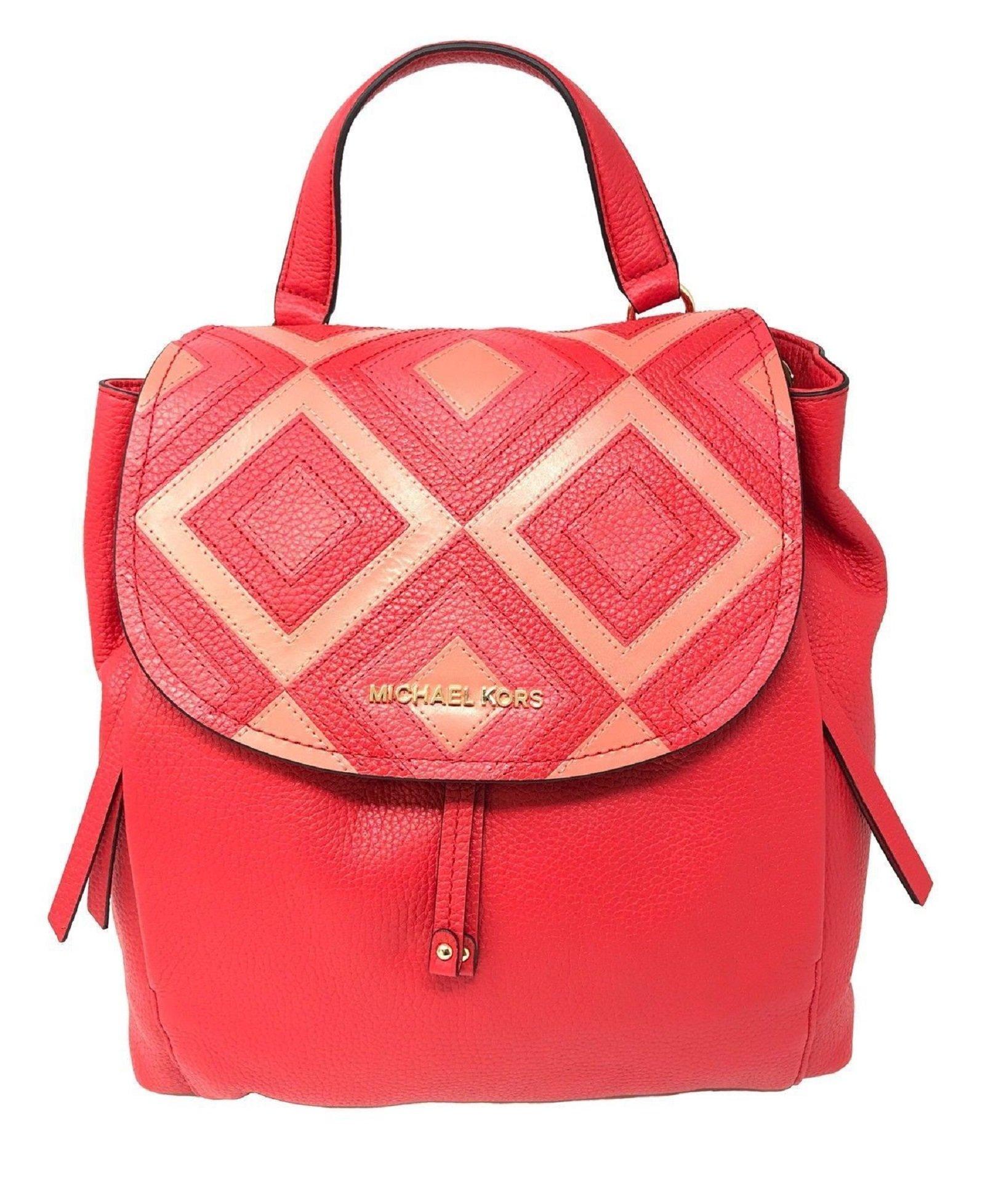 Michael Kors Riley LG Leather Backpack Drawstring Flap Bag DK Sangria