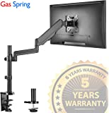 """Single Arm Monitor Desk Mount Stand, Height Adjustable Full Motion Gas Spring Monitor Mount Riser with C Clamp/Grommet Base Fits 17""""-32"""" LCD LED Computer Screens Hold up to 17.6lbs Black, by IMtKotW"""