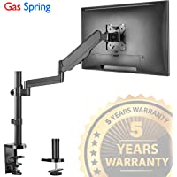 "Single Arm Monitor Desk Mount Stand, Height Adjustable Full Motion Gas Spring Monitor Mount Riser with C Clamp/Grommet Base Fits 17""-32"" LCD LED Computer Screens Hold up to 17.6lbs Black, by IMtKotW"