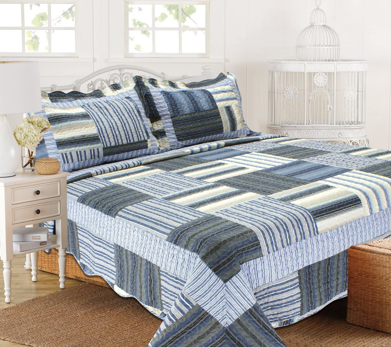 ALL FOR YOU 3pc Reversible Quilt Set, bedspread, coverlet-reversible-antique/classic blue patchwork print (full/queen)