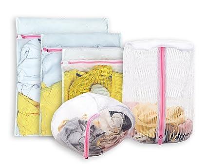 aimto Juego de 5 bolsas de malla de lavandería – 1 grande, 1 mediana,