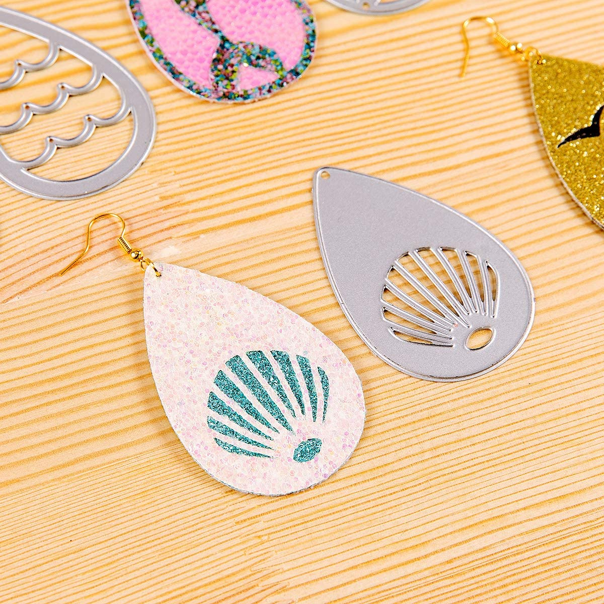 PARBEE 16 PCS Sea Creatures Earring Cutting Dies Teardrop Mermaid Beach Ocean Die Cuts for Making Leather Earrings