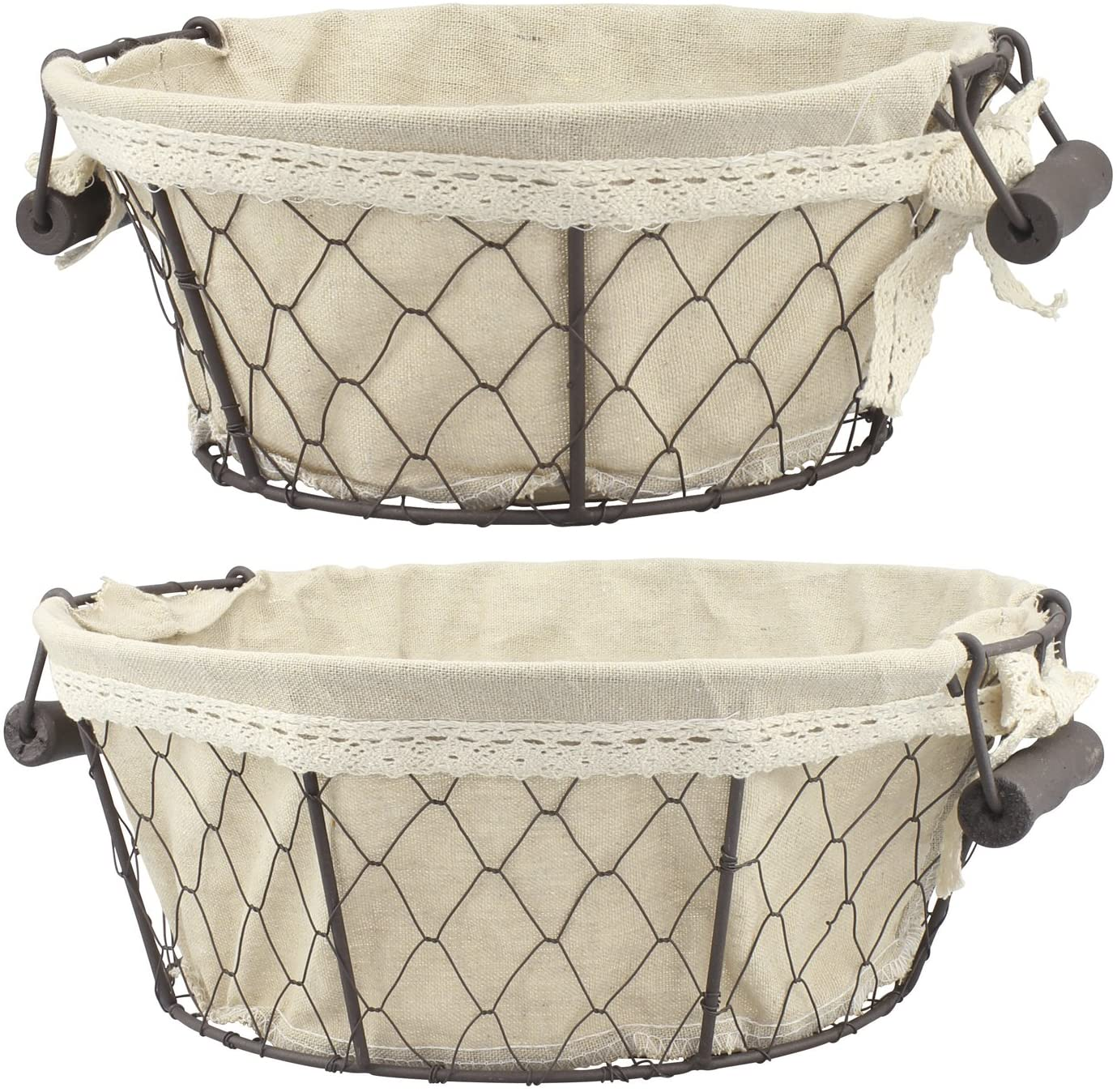 Stonebriar 2pc Round Metal Serving Basket Set with Decorative Fabric Lining, Rustic Serving Trays for Parties, Centerpiece for Coffee or Dining Table, Document Organizer for Office or Kitchen