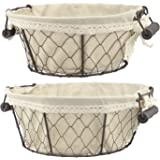 Stonebriar 2pc Round Metal Serving Basket Set with Decorative Fabric Lining, Rustic Serving Trays for Parties, Centerpiece fo