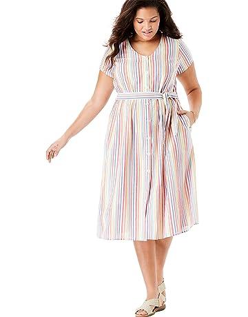 78e1e2353c1e Woman Within Women's Plus Size Short Sleeve Seersucker Button-Front Dress