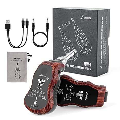 Donner Sistema Inalámbrico de Guitarra Transmisor Recargable Inalámbrico Guitarra Receptor con 5 Efectos MW-1