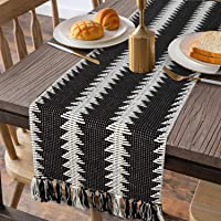 KIMODE Neutral Texture Fringe Table Runner 14 X 102 in, Black and White Geometric Cotton Fabric Handmade Woven Tassels…