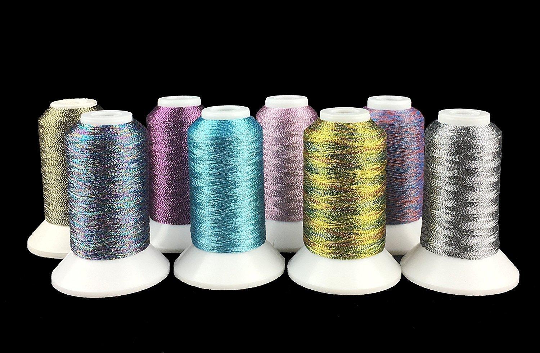 Sinbel Metallic Embroidery Thread 8 Spools National Colors 500 Meters Per Spool For Brother Babylock Janome Singer Pfaff Husqvaran Bernina Machines (Chinese National) Xinbei Inc
