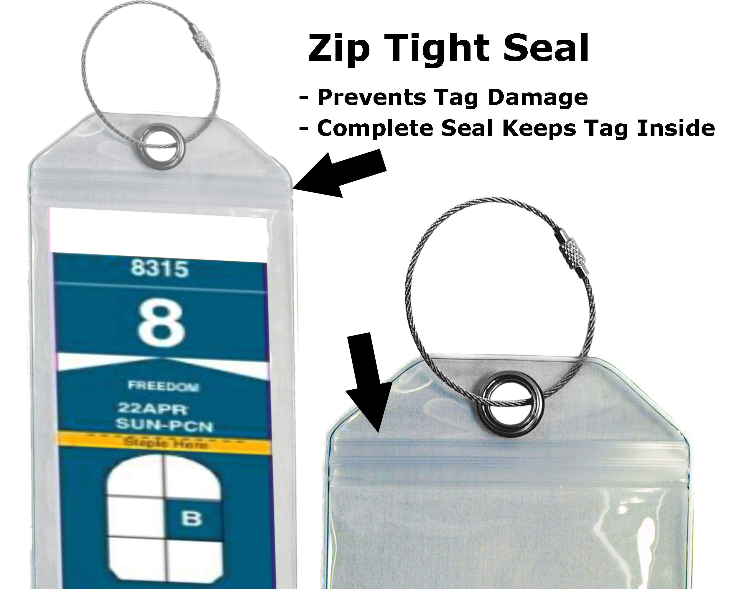 Cruise Luggage Tag Holder Zip Seal & Steel - Royal Caribbean & Celebrity Cruise (Clear - 4 Pack) by Highwind (Image #3)