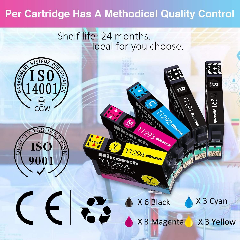 Hicorch Cartuccia T1295 Multipack Compatibile con Cartucce Epson T1291 T1292 T1293 T1294 per Epson SX235W SX420W SX430W SX440W SX425W SX435W BX305FW WF-7515 WF-3520 6 Nero,3 Ciano,3 Magenta,3 Giallo