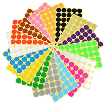Eboot 2 5 cm dot stickers round stickers coding labels 16 different colors 16 sheets