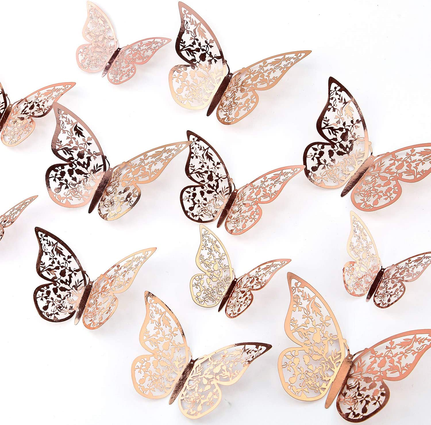 AIEX 24pcs 3D Butterfly Wall Stickers 3 Sizes Butterfly Wall Decals Room Wall Decoration for Bedroom Party Wedding Decors(Rose Gold)