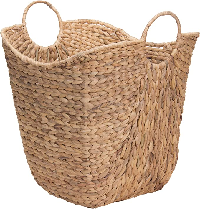 Household Essentials Ml 4002 Tall Water Hyacinth Wicker Basket With Handles Natural Brown Natural Home Kitchen
