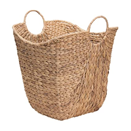 Ordinaire Household Essentials ML 4002 Tall Water Hyacinth Wicker Basket With Handles  | Natural