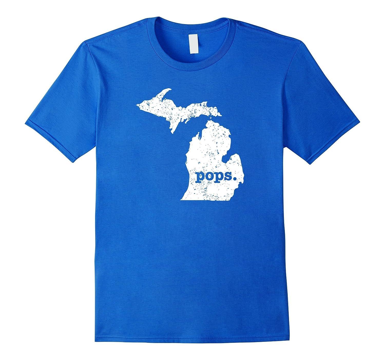 Mens Best Pops T Shirt Michigan T Shirt Grandpop Pop T Shirt-RT