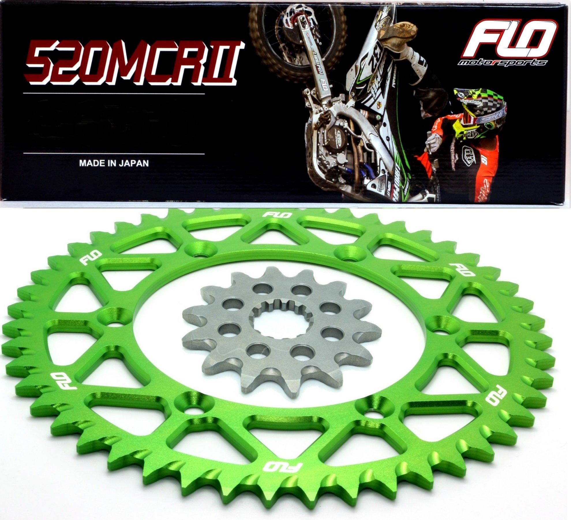 Flo Motorsports Gold Chain & Sprocket Combo Kit KAWASAKI KX250F FRONT SPROCKET 13T / REAR SPROCKET 48, 50, 51, 52, or 53 TOOTH (50T, Green)