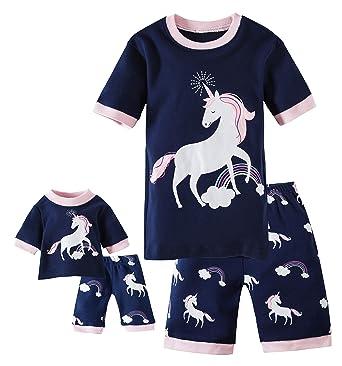f3fe723156 Shorts Kids   Toddler Pajamas Matching Doll   Girls Pajamas 100% Cotton  Unicorn Pjs Set