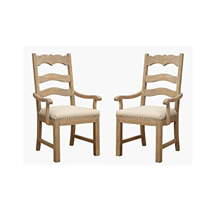 Merveilleux Emerald Home Barcelona Rustic Pine And Beige Dining Chair With Curved Arms,  Upholstered Seat,