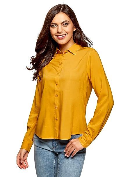 oodji Ultra Mujer Blusa Básica de Viscosa, Amarillo, ES 34 / XXS