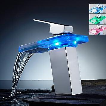kangya Évier en laiton de salle de bain lavabo robinet mitigeur cascade  avec LED Capteur de température