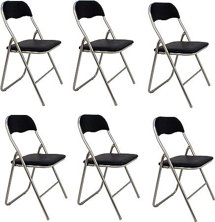 La Silla Española - Pack 6 Sillas plegables de aluminio con asiento y respaldo acolchados en PVC, modelo Sevilla, Color negro, 78x43,5x46 cm: Amazon.es: Hogar