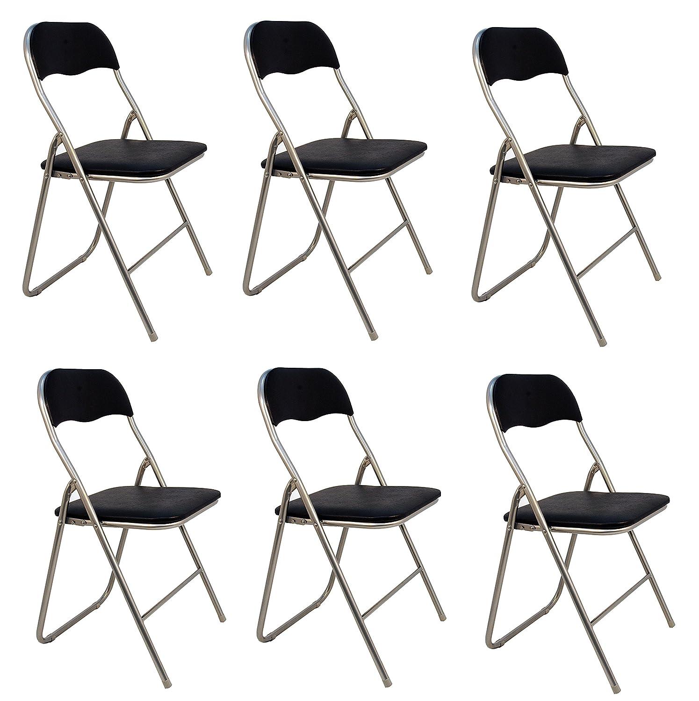 La Silla Española - Pack 6 Sillas plegables de aluminio con asiento y respaldo acolchados en PVC, modelo Sevilla, Color negro, 78x43,5x46 cm: Amazon.es: ...